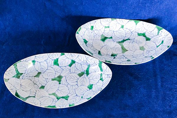グリーン木の葉前菜皿斜め上
